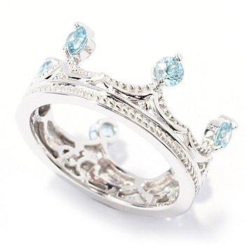 129-494 - Dallas Prince Designs Sterling Silver Blue Zircon Crown Ring