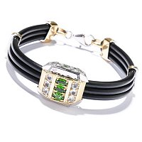 MEN'S - SS/PALL BRAC CHROME DIOPSIDE & WHT TOPAZ w/ DOUBLE RUBBER CORD