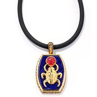 "MEN'S - SS/PALL PEND EGYPTIAN SCARAB LAPIS & RED JADE w/ 22"" RUBBER CORD"