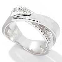 SS/P RING DOUBLE BAND TEXTURED w. HIGH POLISH OVERLAY