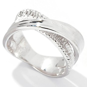 129-510 - Palatino™ Platinum Embraced™ Polished & Diamond Cut Crossover Ring