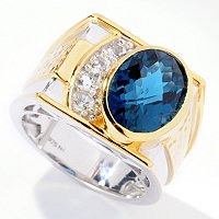MEN'S - SS/PALL RING LONDON BLUE TOPAZ & WHT TOPAZ