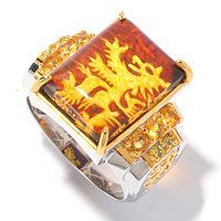 MEN'S - SS/PALL RING LOIN RAMPANT CARVED AMBER & GEM