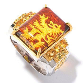 129-524 - Men's en Vogue II 17 x 13mm Carved Amber Lion Rampant Intaglio & Multi Gemstone Ring
