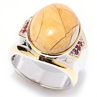 MEN'S - SS/PALL RING BRECCIATED MOOKAITE & ORG SAPH