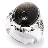 MEN'S - SS/PALL & BLK RHOD RING GOLDEN SHEEN BLACK OBSIDIAN w/ BLK DIA