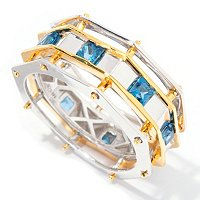 MEN'S - SS/PALL RING LONDON BLUE TOPAZ OCTAGON ETERNITY BAND