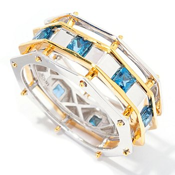 129-529 - Men's en Vogue II 1.20ctw London Blue Topaz Octagon Shaped Eternity Band Ring