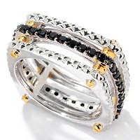 MEN'S - SS/PALL RING BLACK SPINEL TEXTURED SQUARE ETERNITY BAND
