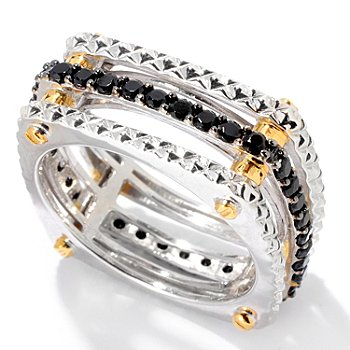 129-530 - Men's en Vogue II Black Spinel Textured Square Eternity Band Ring