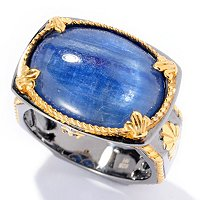 MEN'S - SS/PALL & BLK RHOD RING KYANITE & BLUE SAPH