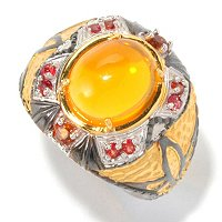 MEN'S - SS/PALL RING FIRE OPAL CABOCHON & ORG SAPH