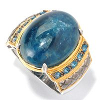 MEN'S - SS/PALL RING OPAQUE APATITE & LONDON BLUE TOPAZ