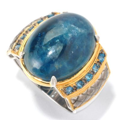 129-535 - Men's en Vogue II 20 x 15mm Opaque Apatite & London Blue Topaz Ring