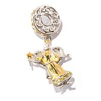 SS/PALL CHARM ANGEL & GEMSTONE DROP