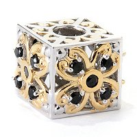 SS/PALL CHARM BLACK SPINEL FLOWER CUBE
