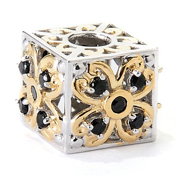 129-546 - Gems en Vogue II Black Spinel Flower Cube Slide-on Charm