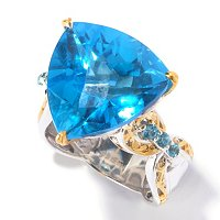 SS/PALL RING TRILLION SWISS BLUE TOPAZ & GEM