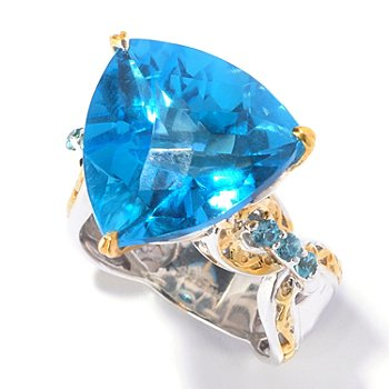 129-548 - Gems en Vogue II 16.22ctw Trillion Swiss Blue Topaz & Blue Zircon Ring