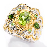 SS/PALL RING 9X7mm PERIDOT w/ CHROME DIOP & TSAV