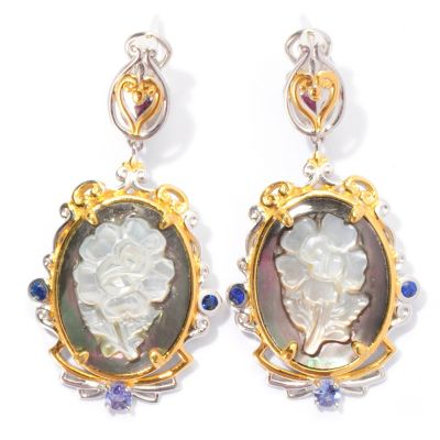 129-556 - Gems en Vogue II 19 x 14mm Carved Mother-of-Pearl & Multi Gemstone Drop Earrings