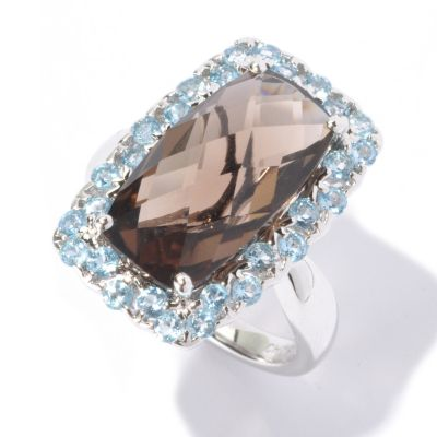 129-558 - NYC II 6.50ctw Smoky Quartz & Swiss Blue Topaz Ring