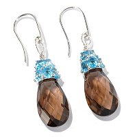 SS/PLAT EAR SWISS BLUE TOPAZ & SMOKY QUARTZ BRIOLETTE DROP