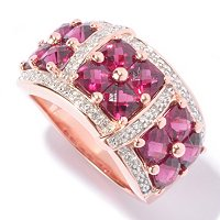 SS/18K ROSE VERMEIL RING BRAZILIAN GARNET CUSHION & .10CT DIA BAND