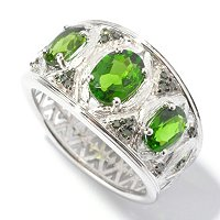 SS/P RING CHROME DIOPSIDE & GREEN DIAMOND STARDUST FINISH BAND