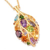 "SS/P PEND MULTI GEMSTONE LEAF w/ 20"" CHAIN"