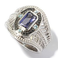 SS/P RING IOLITE & BLUE ZIRCON