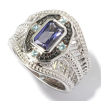 129-564 - NYC II Radiant Cut Iolite & Blue Zircon Ring