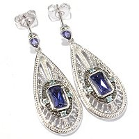 SS/P EAR IOLITE & BLUE ZIRCON TEARDROP