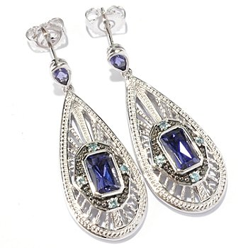 129-565 - NYC II 1.75ctw Radiant Cut Iolite & Blue Zircon Teardrop Earrings