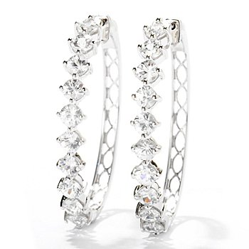 129-567 - Gem Treasures Sterling Silver 7.00ctw White Zircon Oval Hoop Earrings