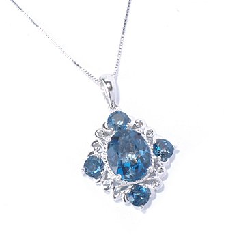 129-569 - Gem Treasures Sterling Silver 6.00ctw London Blue Topaz Pendant w/ Chain