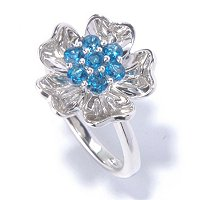 SS PAVE FLOWER RING WITH BLUE TOPAZ