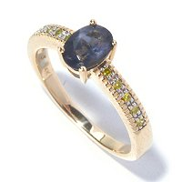 14K YG BLUE SPINEL DIAMOND RING