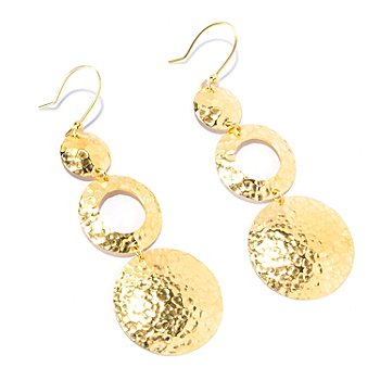 129-573 - Toscana Italiana Gold Embraced™ Hammered Three-Disk Drop Earrings