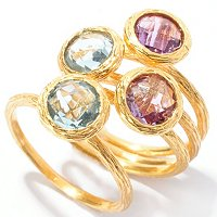BRONZE/18KGP RING SET OF 4 AMETHYST AND BLUE TOPAZ