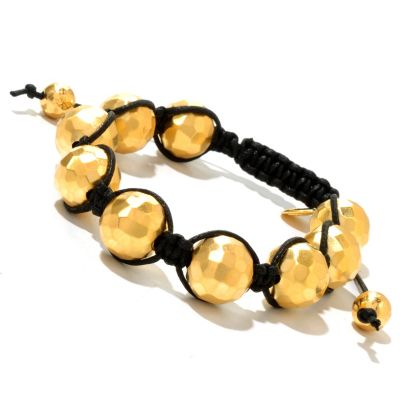 129-576 - Toscana Italiana Gold Embraced™ Adjustable Hammered Bead Cord Bracelet