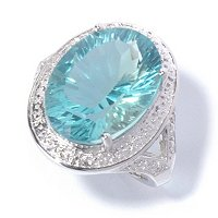 SS FANCY CUT OVAL GREEN FLORITE RING