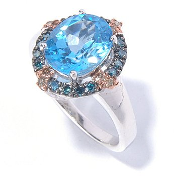 129-583 - Gem Insider Sterling Silver 3.25ctw Swiss Blue Topaz & Fancy Color Diamond Ring