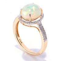 14K YG ETHIOPIAN OPAL DIAMOND RING