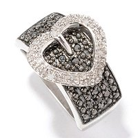 SS .25CTW BLACK & WHITE DIAMOND RING