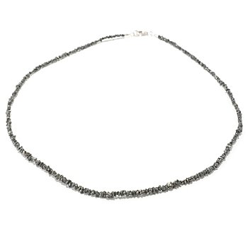 129-594 - Diamond Treasures Sterling Silver 18'' Black Diamond Bead Necklace