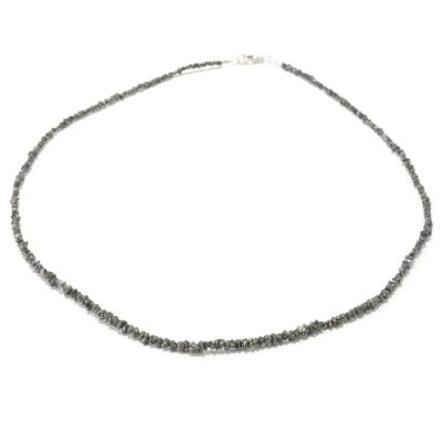"129-594 - Diamond Treasures Sterling Silver 18"" Black Diamond Bead Necklace"