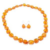 SS AMBER NECK WITH MATCHING EARRING SET