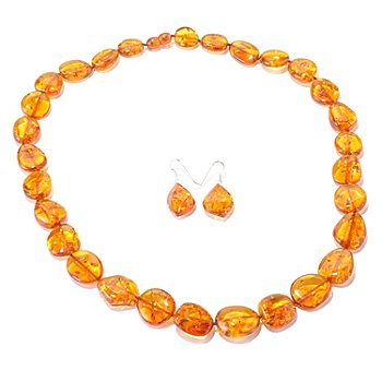 129-597 - Gem Insider Sterling Silver Colored Amber Earrings & 24'' Necklace Set