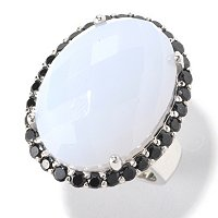 SS BLUE CHALCEDONY WITH BLACK SPINEL RING